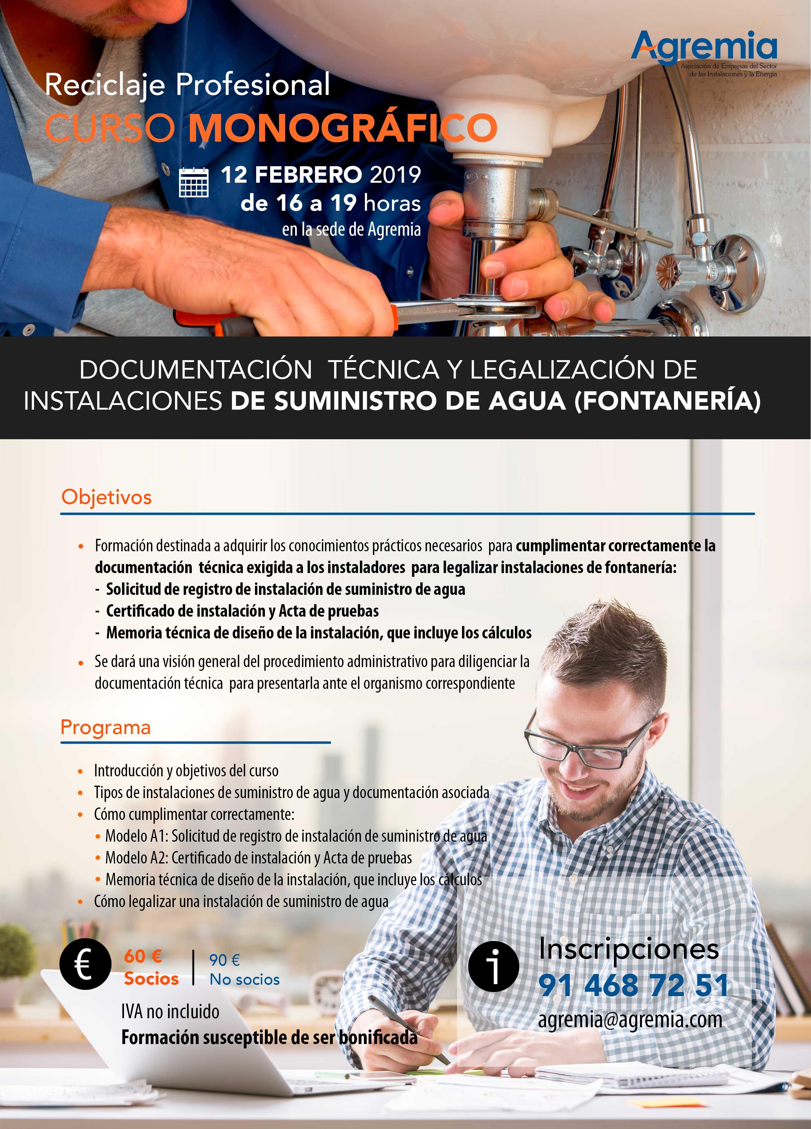 Curso práctico de reciclaje profesional: Cómo cumplimentar correctamente la documentación técnica y cómo legalizar instalaciones de FONTANERÍA